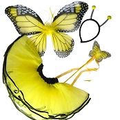 Butterfly Wing Wand Skirt 4pc Set Yellow Black